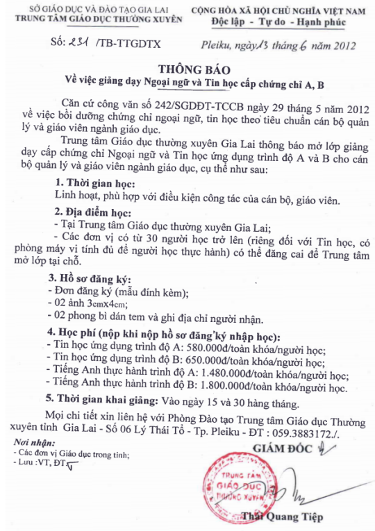 Thông báo tuyển sinh lớp Anh Văn & Tin học cấp chứng chỉ A, B