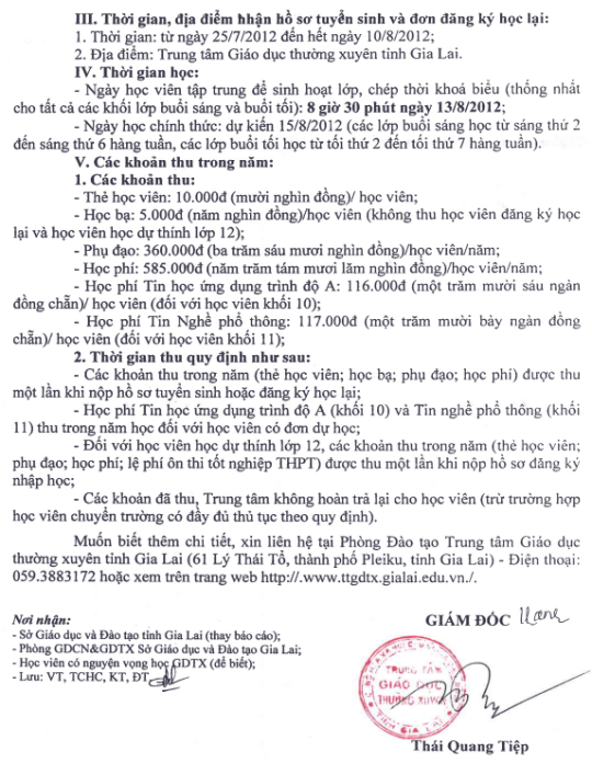 Thông báo tuyển sinh GDTX cấp THPT 2012